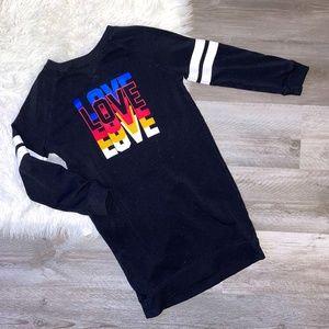 "4/$25! Girl's Black ""Love"" Sweatshirt Dress L"